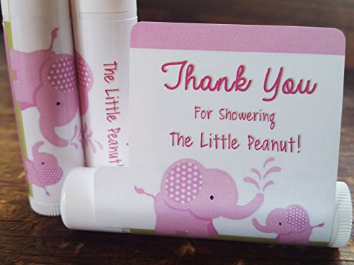12 Elephant Baby Shower Lip Balms - Girl Baby Shower Favors - Elephant Shower Favors - Pink Elephant Favors (Lip Balm Favors)