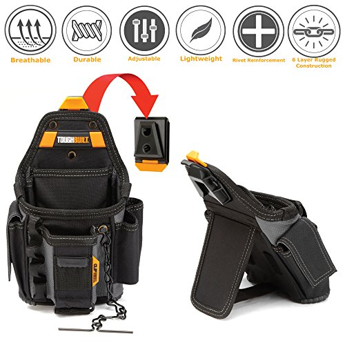 ToughBuilt - Small Electrician Tool Pouch | 13 Pockets and Loops, Tape Measure Clip, Adjustable Pocket, Adjust Lower Strap, Premium Multi-Tool Organizer (Patented ClipTech Hub & Belts) (TB-CT-34)