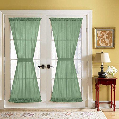 Jody Clarke 2PC French Door Panel Sheer Sidelight Door With 2 Tiebacks Avilabale in Multiple Colors and Sizes(41
