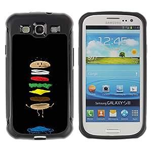 Híbridos estuche rígido plástico de protección con soporte para el SAMSUNG GALAXY S3 - food cartoon funny black chef