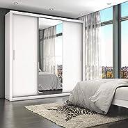 Guarda Roupa Casal 4 Espelhos 3 Portas de Correr 4 Gavetas Max Plus Siena Móveis Branco/Frassino Jacarta Lacca