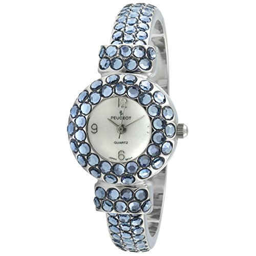 Peugeot Women's Hand Set Crystal Glitz Cuff Bangle Bracelet Jewelry Watch