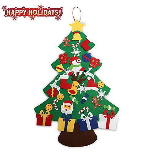 assis 2017 new 3ft felt christmas tree set with ornaments wall hanging - Christmas Tree Amazon