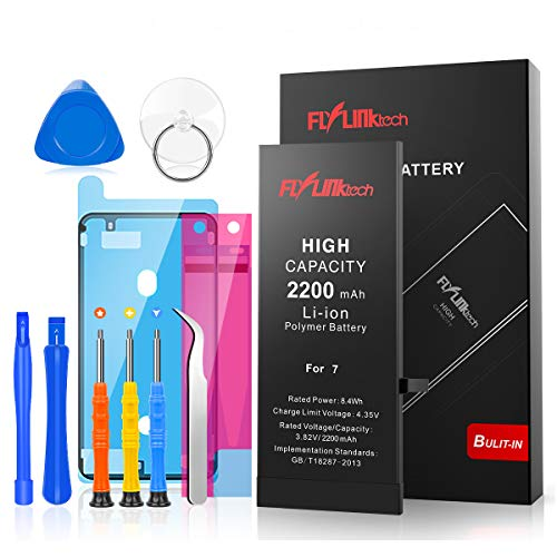 Flylinktech for iPhone 7 Battery, 2200mAh High Capacity Li-ion Battery with Repair Tool Kit-Included 24 Months Assurance