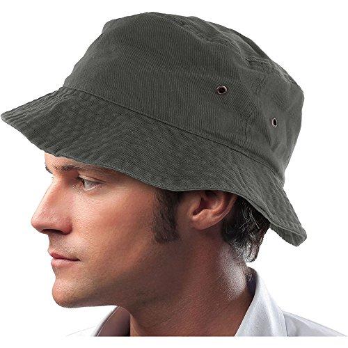 Mens 100% Cotton Fishing Hunting Summer Bucket Cap Hat (L/XL, Olive) ,OliveLarge/X-Large (Ladies Olive Drab)