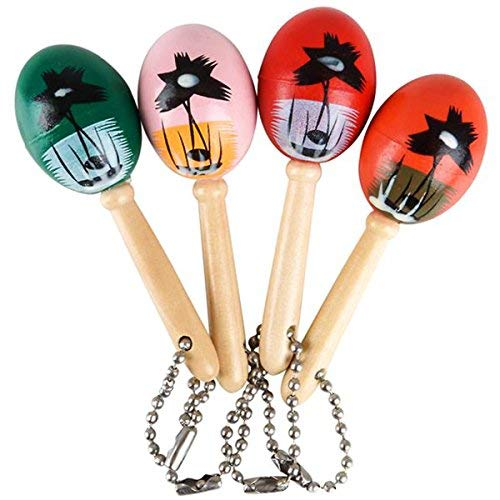 Mini Wooden Hand Painted Maracas Keychains 2 Dozen Keychains - Great Party Favors for Cinco De Mayo Celebrations, Parades, Fiestas and Birthday ()