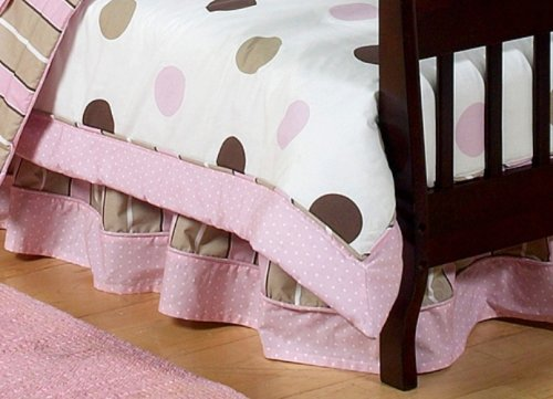 JoJo Designs Bed Skirt for Crib and Toddler Set - Pink and Brown Modern Polka Dots