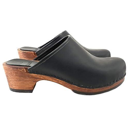 5de2dde433f06 kiara shoes Classical Brown/Black Dutch Leather Clogs - MY-573 ...