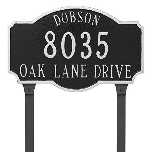2 Line Lawn Address Plaque (Montague Metal PCS-0053S2-L-BS 9.75