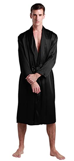 3029824b81 LILYSILK Men s Silk Dressing Gown Mid Length V Neck 22 Momme Pure Mulberry  Silk Robe Black