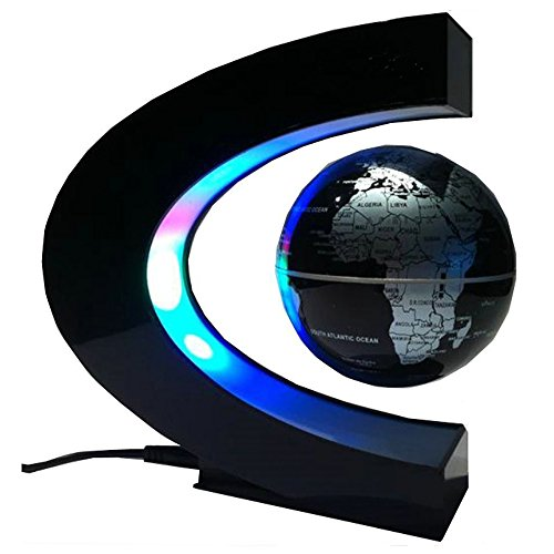 Suspended Table Display (CEStore C Shape Magnetic Levitation Floating World Map Globe Rotating Mysteriously Suspended in Air with LED Lights for Learning/Teaching Demo Home Office Desk Decoration Christmas Gift (Black))