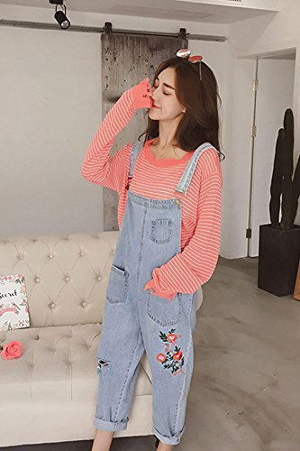 d1a32724a6e Amazon.com   Korean loose denim overalls hole embroidery casual pants striped  long-sleeved shirt female two-piece suit fashion for women girl   Beauty