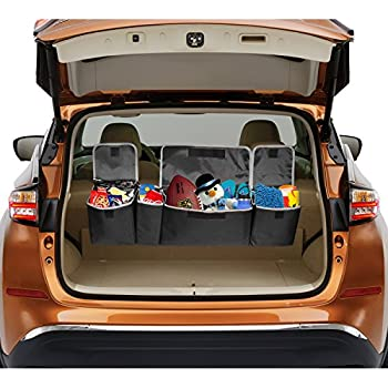 Car Trunk Organizer with Large Storage Pockets- Collapsible Back Seat Trunk Organizer for Van, Car, SUV, Truck