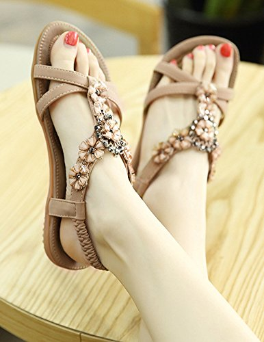 Aisun Women's Sweet Elastic Rhinestones Flowers Sandals apricot WrcYeY636D