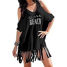 Clearance ! Women Dress, ღ Ninasill ღ Fashion Tassel Letters Print Baggy Swimwear Bikini Beach Dress Tops T Shirt Tank (L, Black)