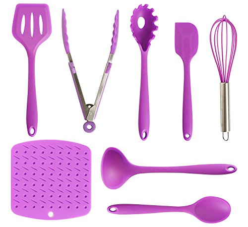 Re-Designed Silicone Kitchen Utensils Set, 8 Piece Purple Cooking Utensil Tools including Turner Tong Spagetti Spoon Spatula Whisker Ladle Large Spoon and heat resistant Mat