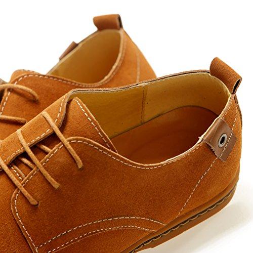 Cordones Talla Camello de Zapatos Zapatillas los Hombre Extra Ocio YiJee Oxfords vBwSfq5