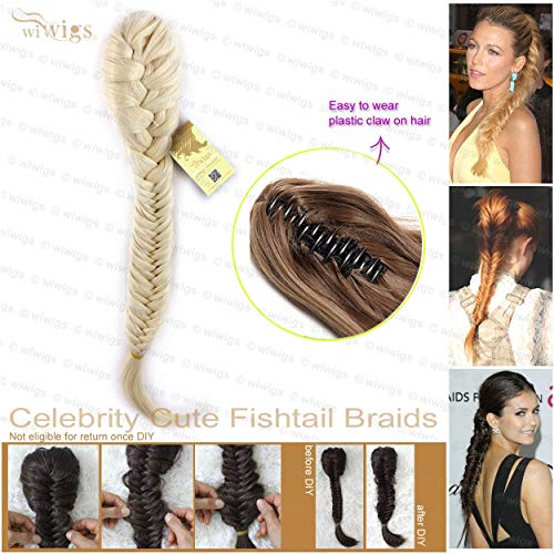 Wiwigs Celebrity Cute Light Blonde Fishtail Braids clip in Ponytail Plaited Hair Extensions DIY ()