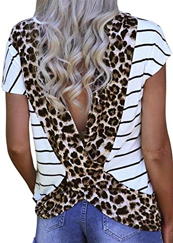 Neck Open Striped Shirt (Womens Leopard Print Open Back T Shirt Short Sleeve Cross Sexy Tees Blouse Summer Casual Loose T-Shirt Tops Tunic (XX-Large, White))
