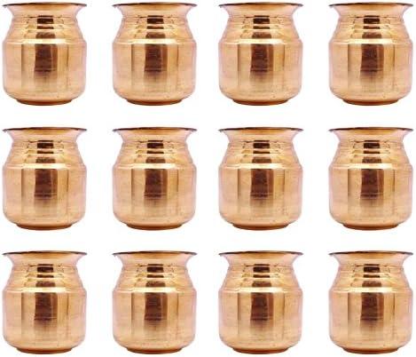従来12個Kalash Prayer Lotaポットピュア銅線供養アイテムHindu Arti