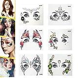 Pinkiou Face Stickers Metallic Facial Eyebrow Tattoo Stickers for Girls