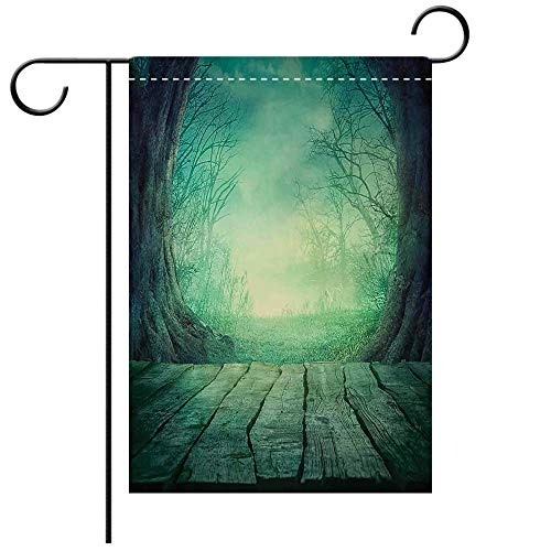Double Sided Premium Garden Flag Gothic Spooky Scary Dark Fog Forest with Dead Trees and Wooden Table Halloween Horror Theme Print Blue Decorative Deck, patio, Porch, Balcony Backyard, Garden or Lawn