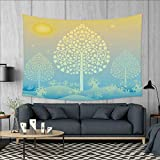 smallbeefly Art Wall Tapestry Thai Pattern Design Illustration of Gold Tree Oriental Culture Asia Eastern Ways Home Decorations for Living Room Bedroom 80''x60'' Gold Sky Blue