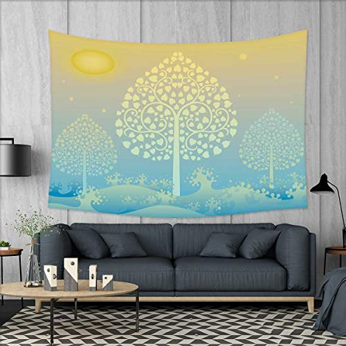 smallbeefly Art Wall Tapestry Thai Pattern Design Illustration of Gold Tree Oriental Culture Asia Eastern Ways Home Decorations for Living Room Bedroom 80''x60'' Gold Sky Blue by smallbeefly