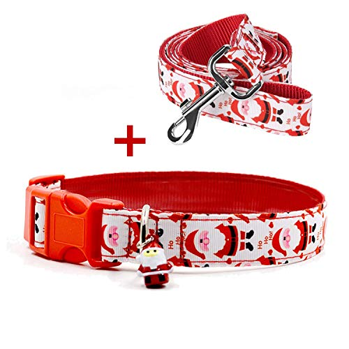 RYPET Christmas Dog Collar and Leash - Santa Claus Dog Collar with Cute Bell, Medium, Neck 12