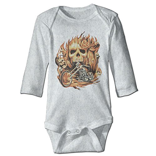 Flaming Skull Chopper (Richard Unisex Infant Bodysuits Chopper Flaming Skull Motorcycle Girls Babysuit Long Sleeve Jumpsuit Sunsuit Outfit 24 Months Ash)