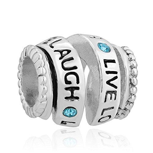 LovelyCharms 925 Sterling Silver Blue Birthstone Live Love Laugh Charm Beads Sale Fit Pandora Charm Bracelets