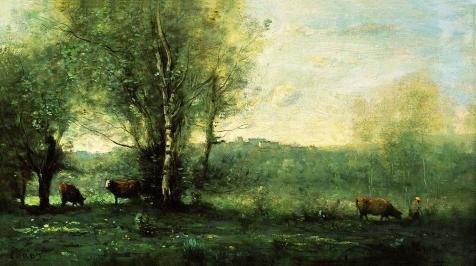 ['Jean-Baptiste-Camille Corot-Three Cows At The Pond,19th Century' Oil Painting, 18x32 Inch / 46x82 Cm ,printed On Perfect Effect Canvas ,this Cheap But High Quality Art Decorative Art Decorative Prints On Canvas Is Perfectly Suitalbe For Garage Gallery Art And Home Gallery Art And] (Deluxe Cow Mask)