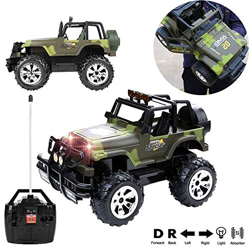 Cross Country Vehicle - 1:15 Scale Super Duty Radio Remote Control Battery Operated Jeep Vehicle Powerful Off Road Cross Country Toy SUV Car with Lights and Sounds, Great Gift for Kids Army Green