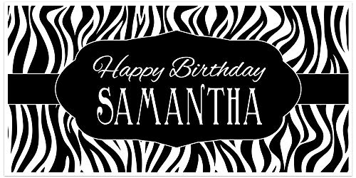 Zebra Animal Print Personalized Birthday Banner Party Decoration Backdrop -