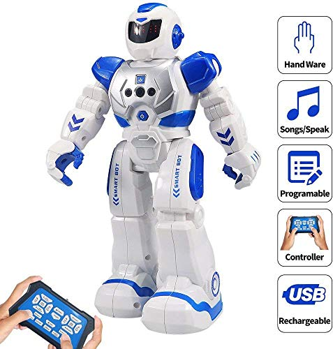 Remote Control Robots For Kids (Samate Remote Control RC Robots for Childrens,Interactive Singing Walking Dancing Smart Programmable Robotics,LED Eyes,Gesture Sensing Robot Kit for Kids Entertainment (Blue))
