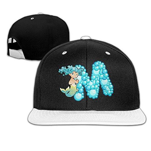 ZOENA Ocean Mermaid Alphabet M Hip-Hop Cotton Hats Tennis Snapback Cap (Cavalier Embroidered Cap)