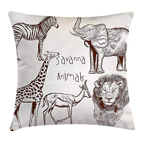 (Safari Throw Pillow Cushion Cover, Composition of Tropic African Asia Wild Savannah Animals Lion Giraffe Zebra Graphic, Decorative Square Accent Pillow Case,Cream Brown 20x20inch )