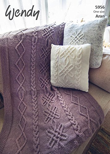 Wendy Home Throw Cushion Knitting Pattern 5956 Aran Amazon