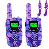 FAYOGOO Kids Walkie Talkies, 22-Channel FRS/GMRS Radio, 4-Mile Range Two Way Radios with Flashlight and LCD Screen, and Toys for 3-12 Year Old Girls, 2 Pack (Camo Purple)