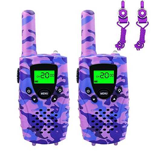 (FAYOGOO Kids Walkie Talkies, 22-Channel FRS/GMRS Radio, 4-Mile Range Two Way Radios, Best Birthday Presents for 3 4 5 6 7 8 9 10 Year Old Girls Toys for Kids (Camo Purple))