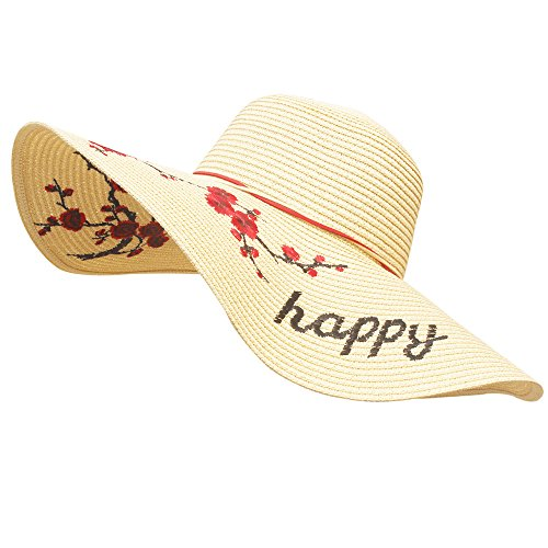 Beruth Women's Wide Brim Braided Embroidered Foldable Floppy Summer Sun Straw Hat For Beach Trip, Camping, Honeymoon, Vacation  - Beige