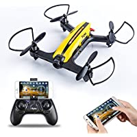 Flytec T18 Mini Racing Drone FPV 2.4Ghz 4CH 6-Axis Gyro with HD Wifi Camera One Key Return 3D Flips Mobile App RC Quadcopter Drone RTF and Easy to Fly for Beginner, Compatible with VR Headset (Yellow)