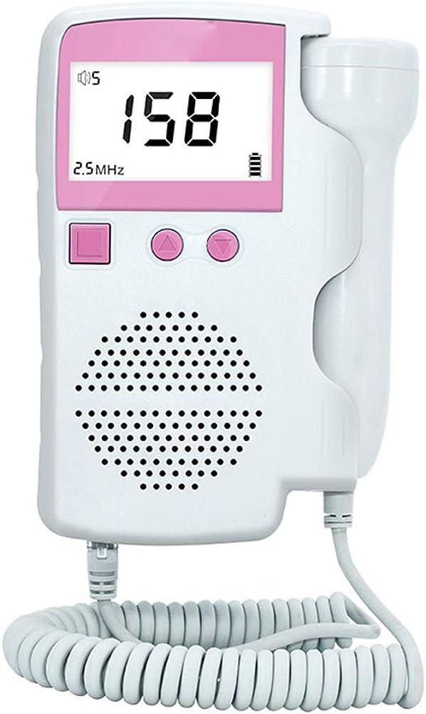 Qeedio Monitor de frecuencia cardíaca fetal de Mano Instrumento de monitorización fetal con Pantalla LCD de Ruido y función de reducción Medidor de corazón fetal doméstico