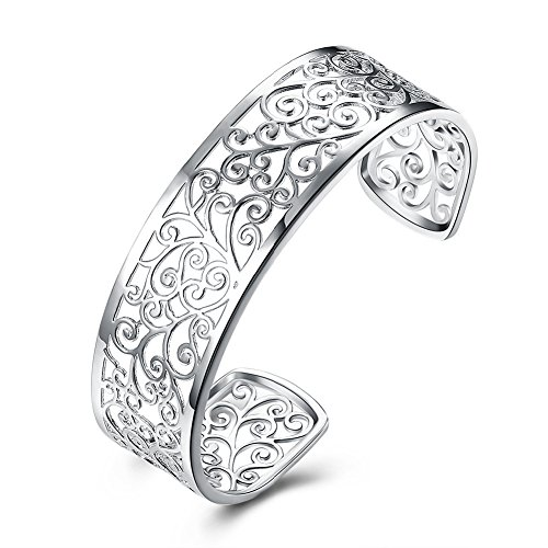 JHWZAIY 925 Sterling Silver Hollow Cuff bracelets for Women (Silver Filigree Cuff)