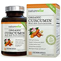 NatureWise ORGANIC Curcumin Tumeric 1650mg,180 caps with 95% Curcuminoids for Cardiovascular Support & Healthy Joints with Advanced Absorption