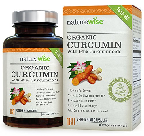 NatureWise ORGANIC Curcumin Tumeric 1650mg,180 caps with 95% Curcuminoids for Cardiovascular Support & Healthy Joints with Advanced - Other Herbal Supplements
