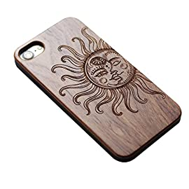 VIVIPOW Wood Vintage Sun and Moon Phone Case Compatible iPhone 7 Case(4.7 Inches),VIVIPOW Sun and Moon Phone Case… 8 Unique Design:Pretty patten are carved in natural wood. Comfortable Design: nature wood and a high-quality plastic make for a comfortable and easy grip. Hybrid designed Case:3D TPU structure,Nature walnut wood at the back