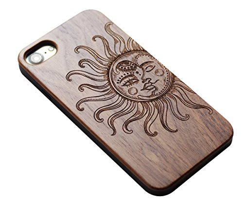 VIVIPOW Wood Vintage Sun and Moon Phone Case Compatible iPhone 7 Case(4.7 Inches),VIVIPOW Sun and Moon Phone Case Compatible iPhone 7 4.7 Inches 1 Unique Design:Pretty patten are carved in natural wood. Comfortable Design: nature wood and a high-quality plastic make for a comfortable and easy grip. Hybrid designed Case:3D TPU structure,Nature walnut wood at the back