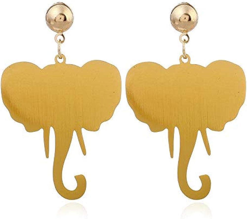 Pendientes Estilo retro diseño de cara peculiar bebé divertido elefante resumen diseño del esquema pendientes huecos oro