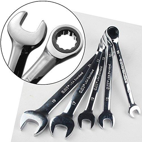Lelinta Reversible Combination Stubby Ratchet Wrench Ratcheting Socket Spanner Set 1/5 Piece 10-19